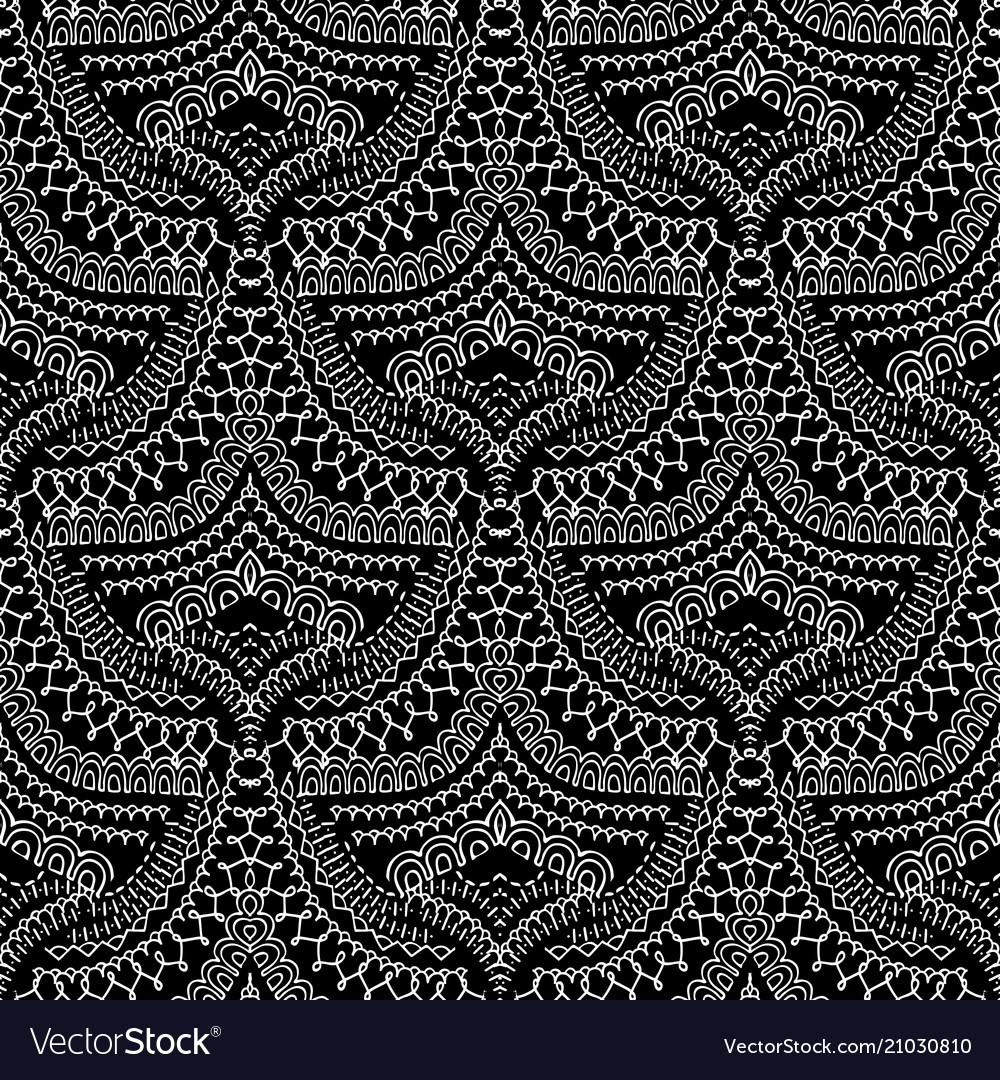 Lace ethnic style seamless pattern black and