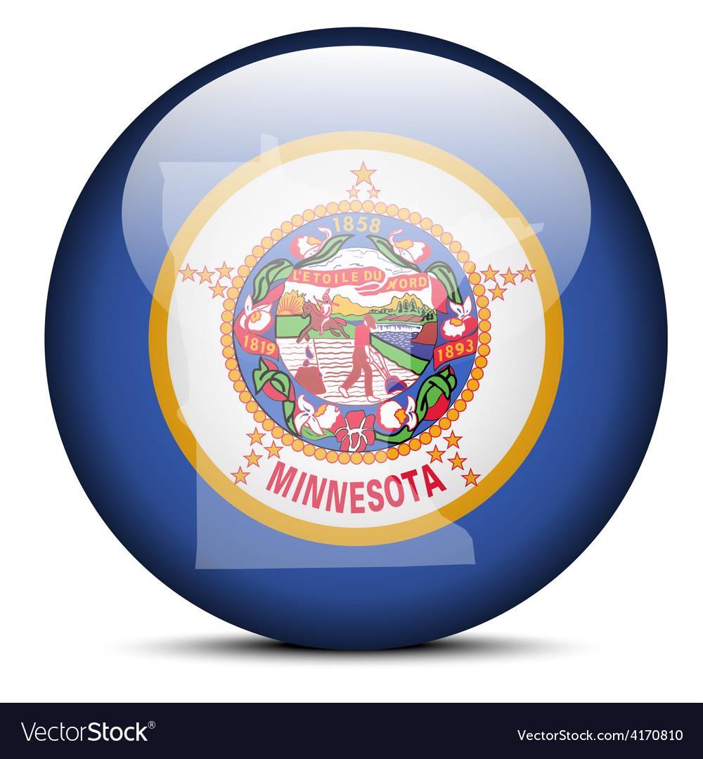 Map On Flag Button Of Usa Minnesota State Vector Image