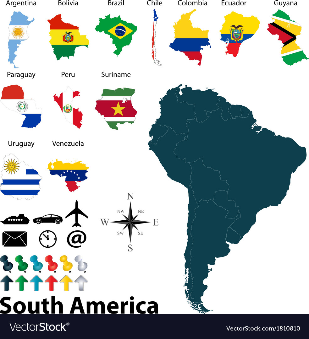 Image of: Maps With Flags Of South America Royalty Free Vector Image