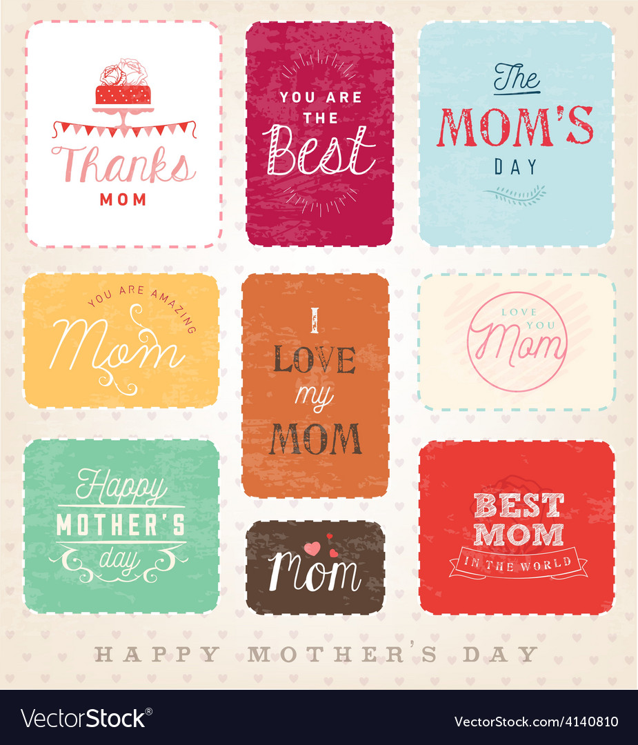 Mom Design Elements and Greeting Card Set