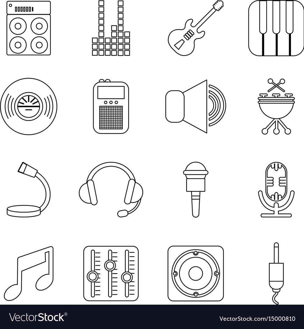 Recording studio symbols icons set outline style