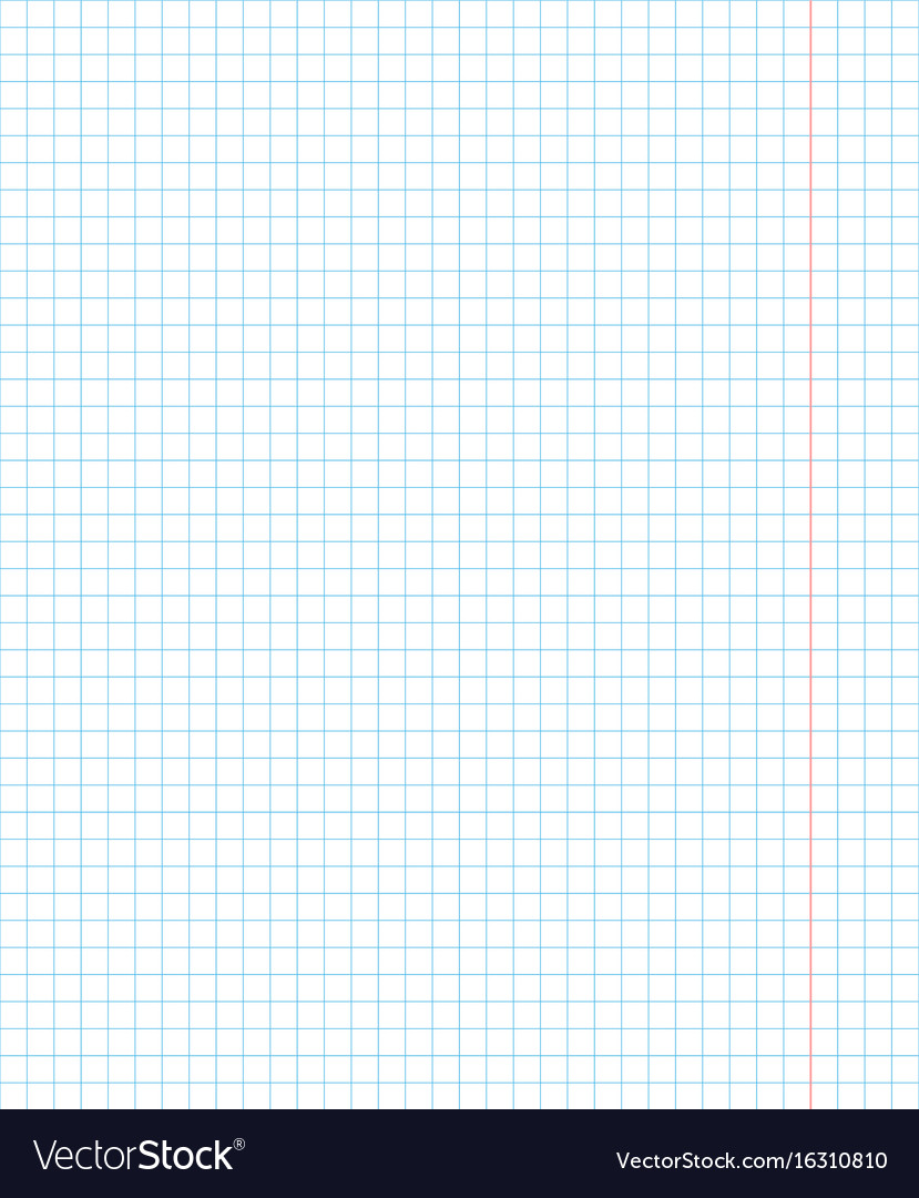 School notebook one page in square for math