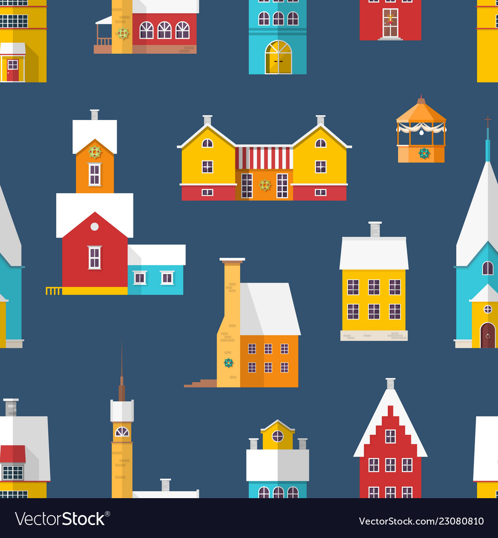 Seamless pattern with residential buildings and