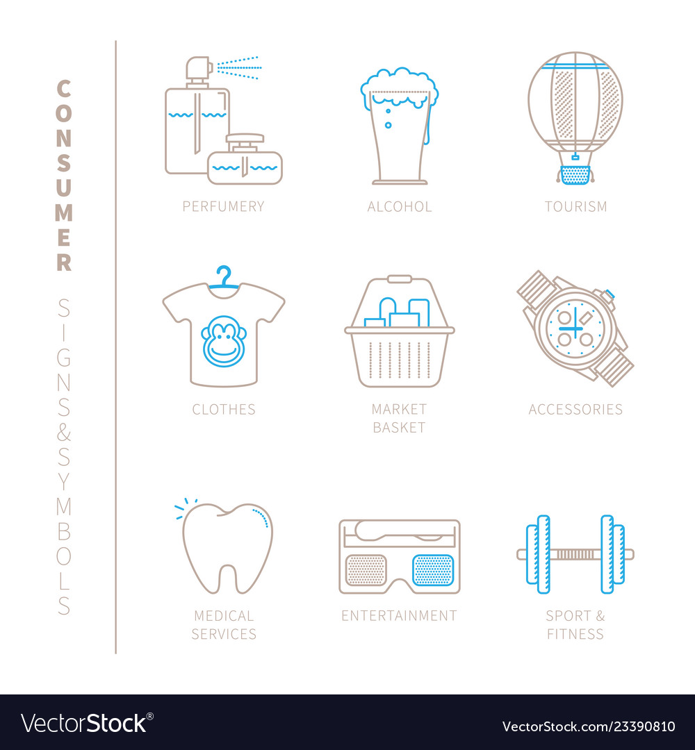 Set of shopping icons and concepts in mono thin