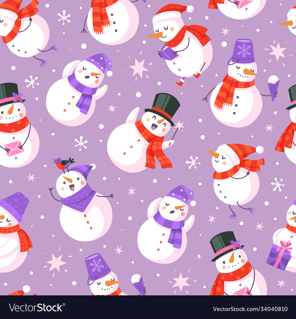 Snowman seamless pattern new year and christmas
