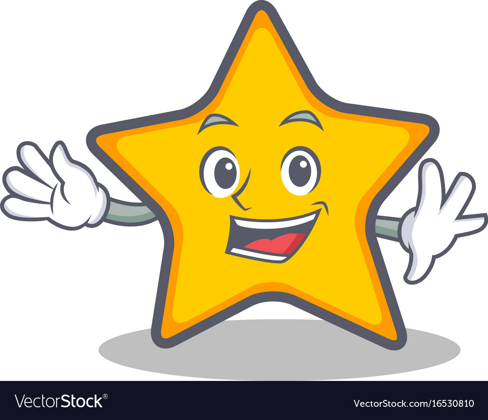 Waving star character cartoon style