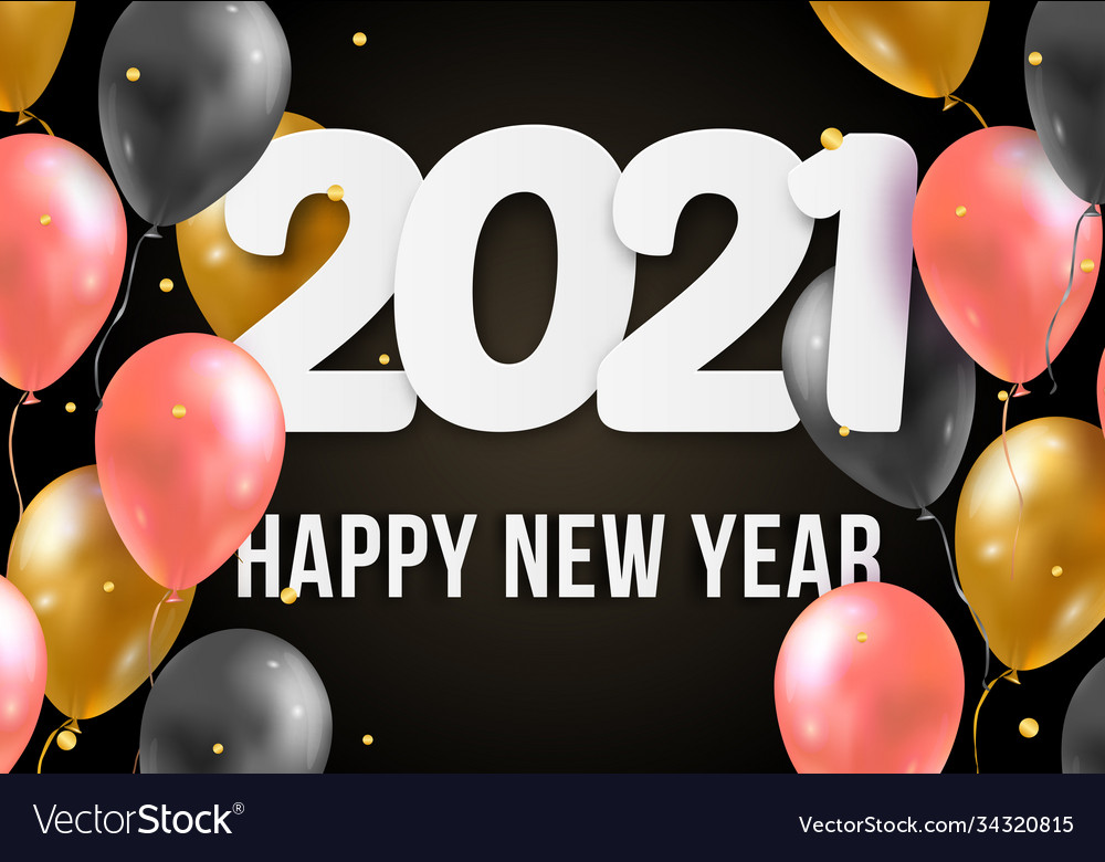 2021 happy new year with 3d realistic balloons