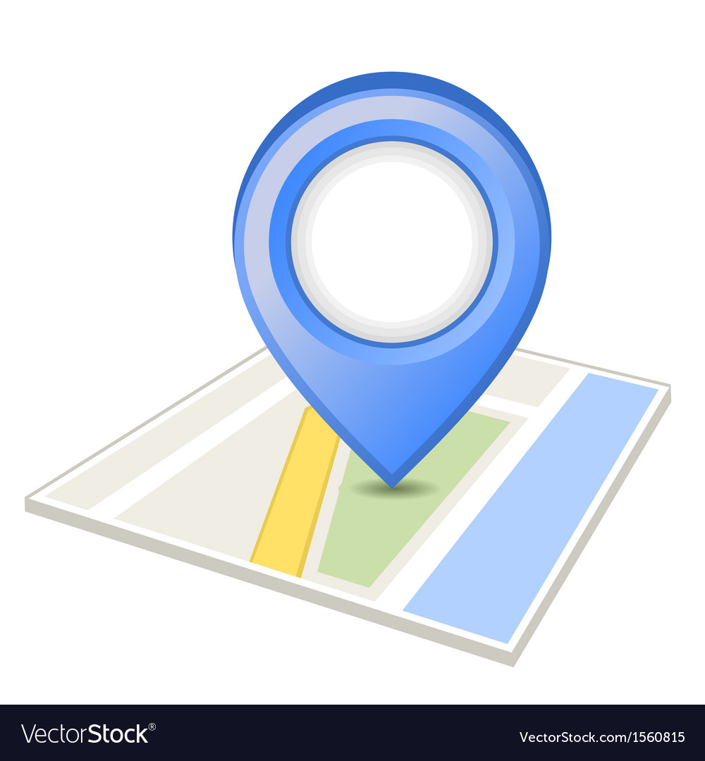 Blue pin on map vector image