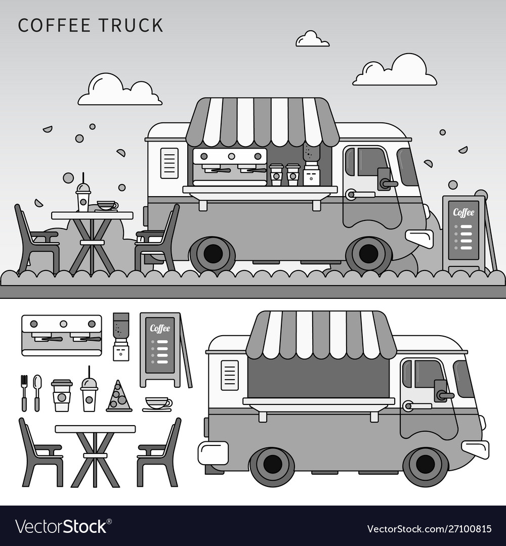Coffee truck on street line monochrome