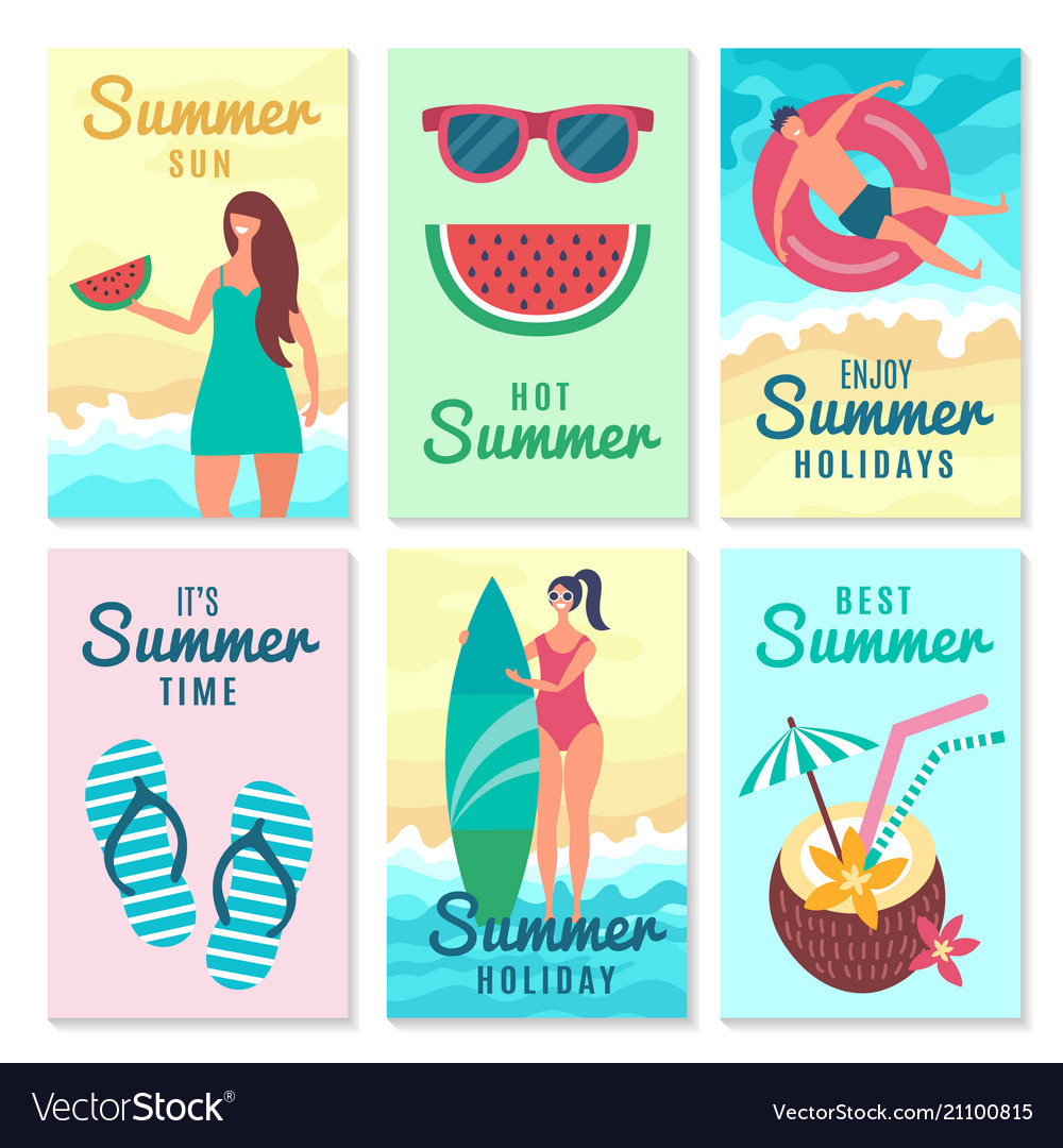 Design cards with summer symbols and various