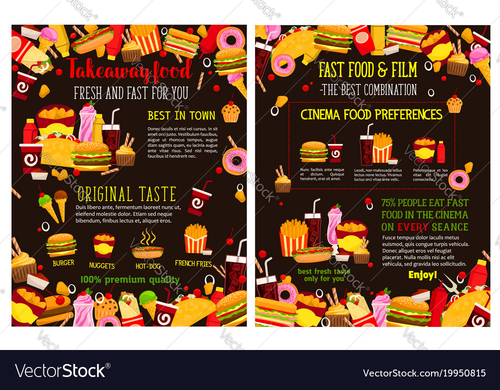 Fast food takeaway menu posters