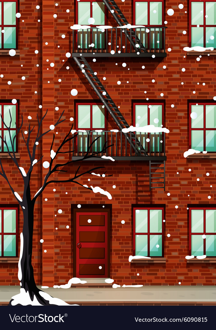 Fire Escape On The Apartment Building Vector Image
