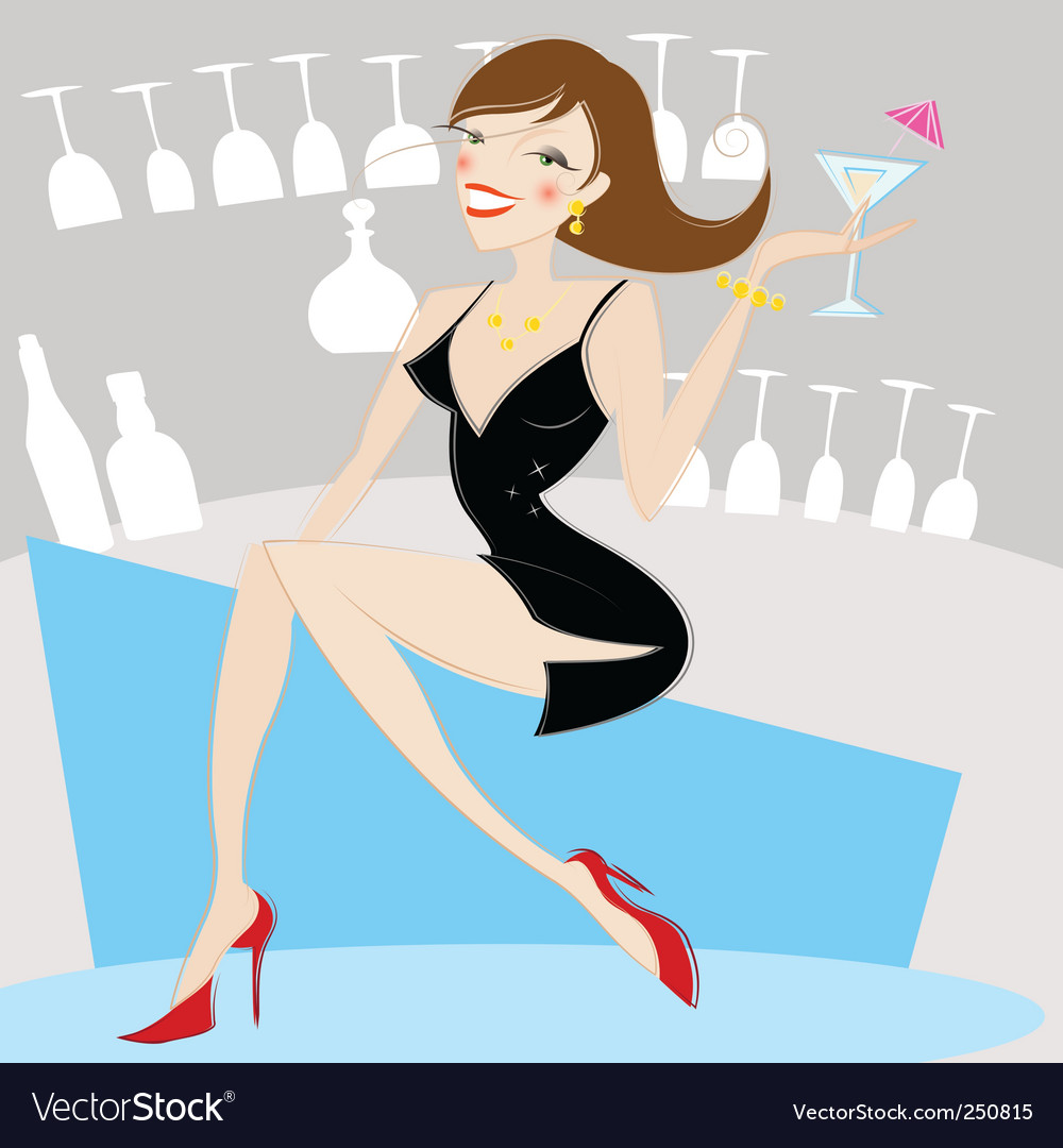 Girl drinking alcohol vector image
