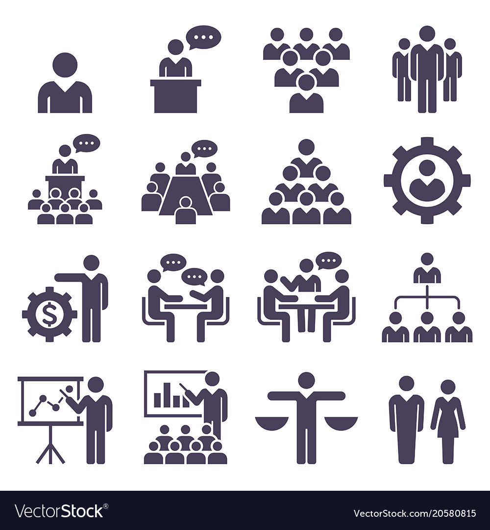 Group of business people icons set