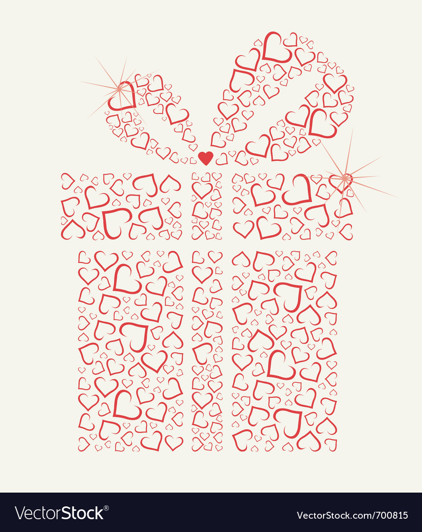 Happy valentines day gift with hearts