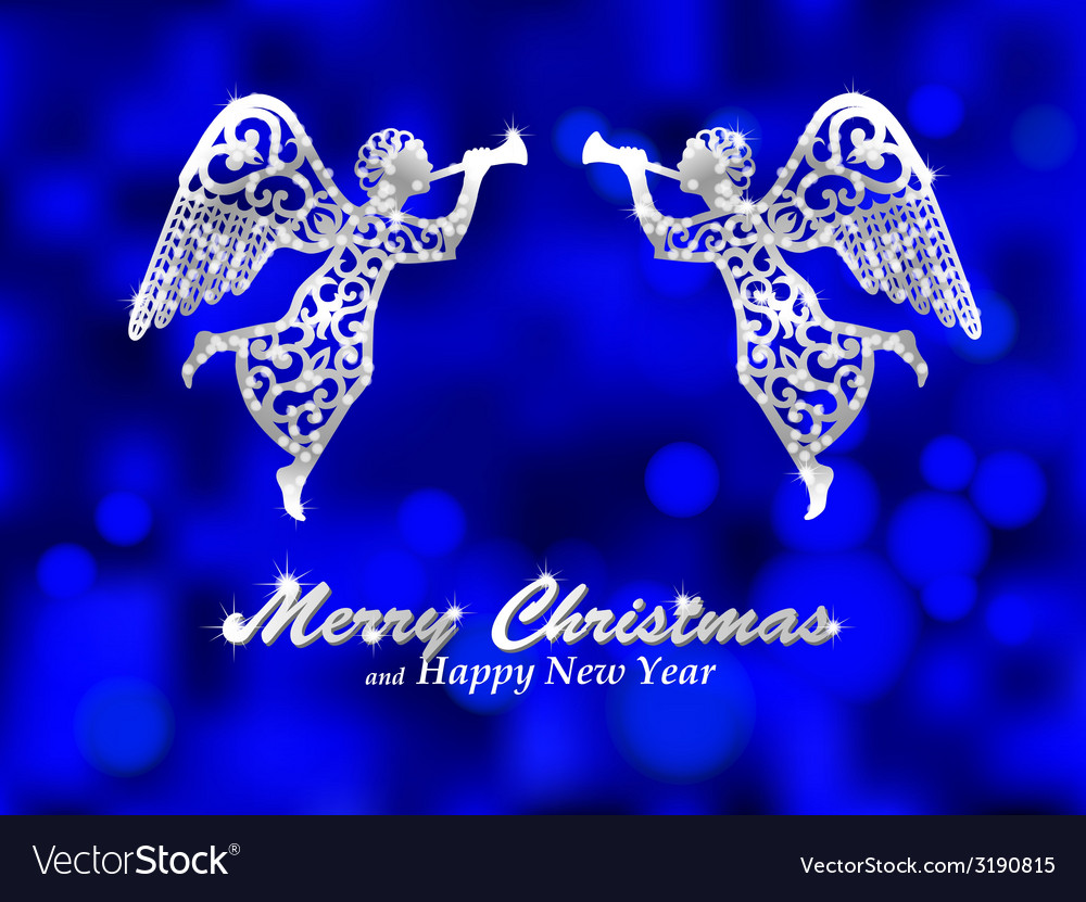 Angels Christmas Background.Merry Christmas Blue Background With Silver Angel