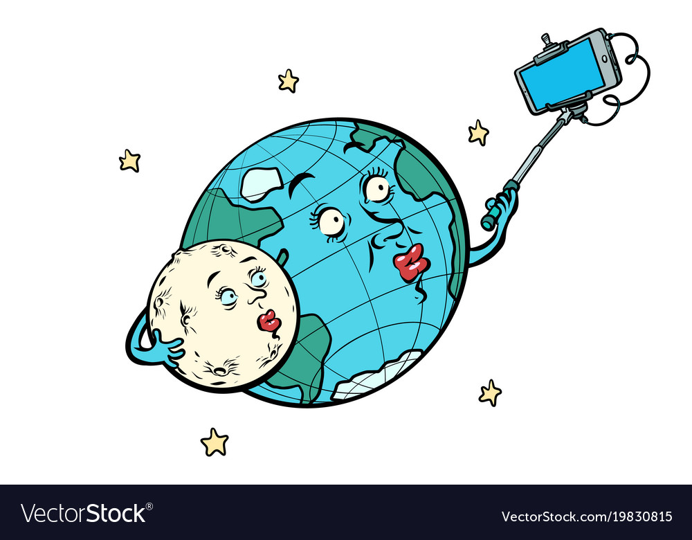 Planet earth and moon couple taking selfie