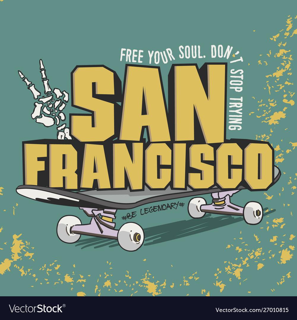 Skateboard fashion typography tee graphic design