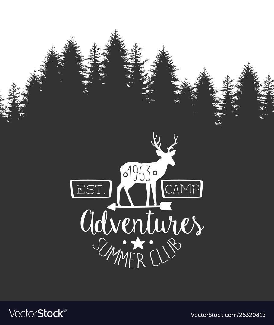 Summer adventures club label template retro