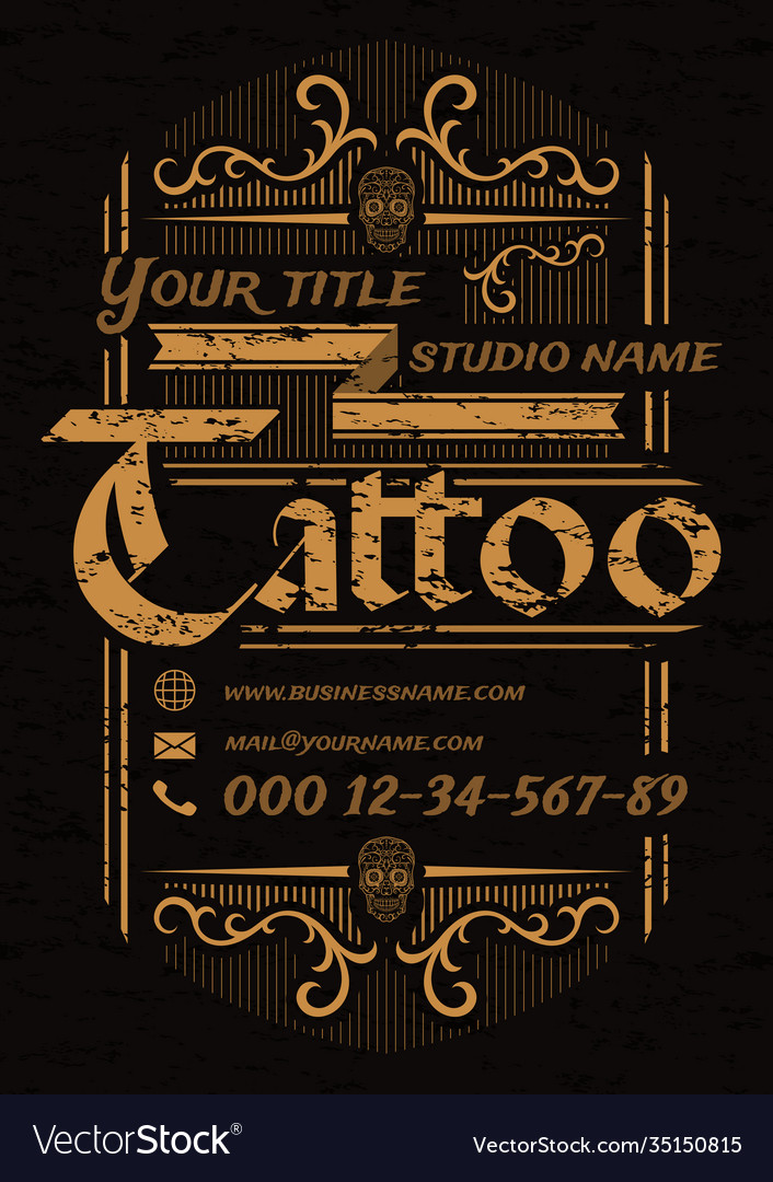 Tattoo studio vintage poster template with skulls