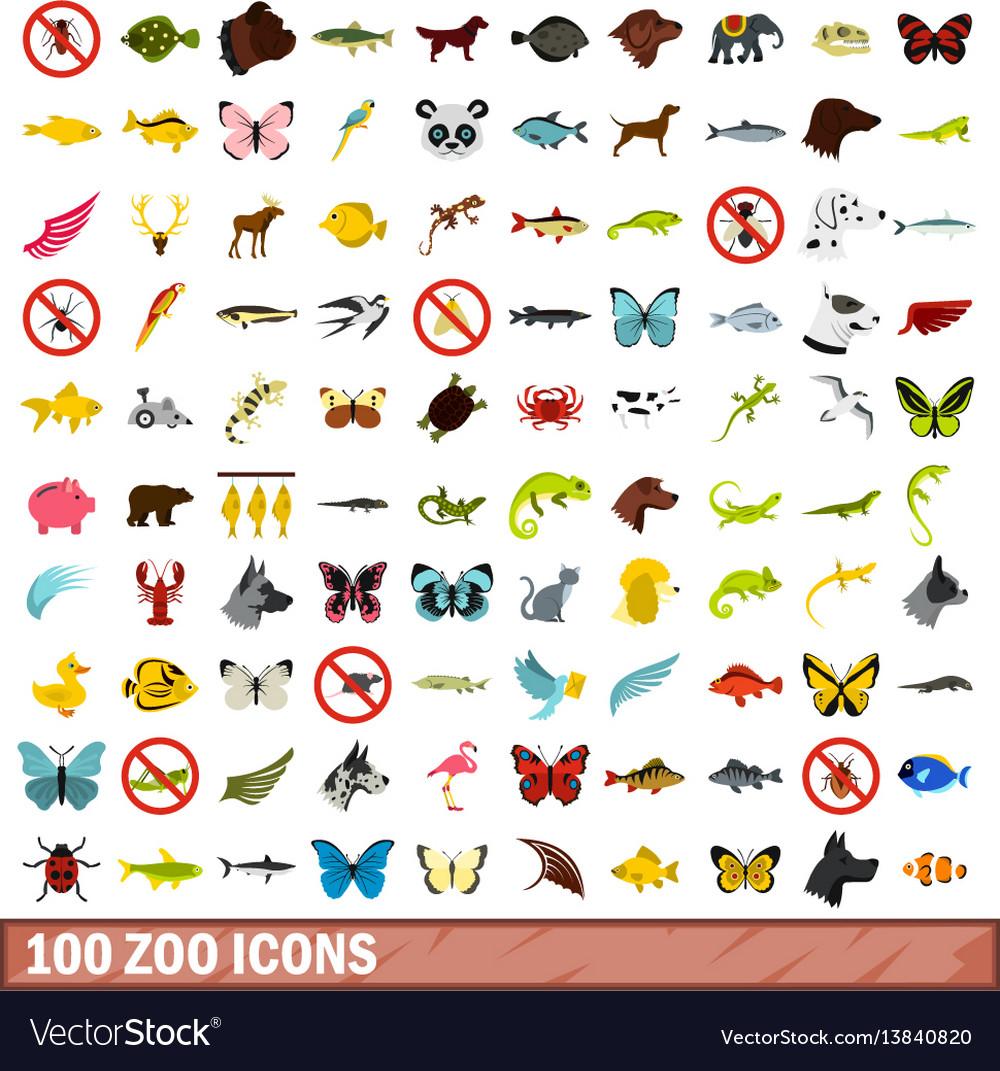 100 zoo icons set flat style