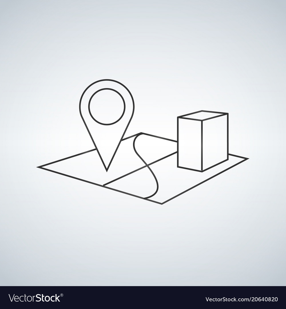 3d map pointer line icon mobile gps navigation