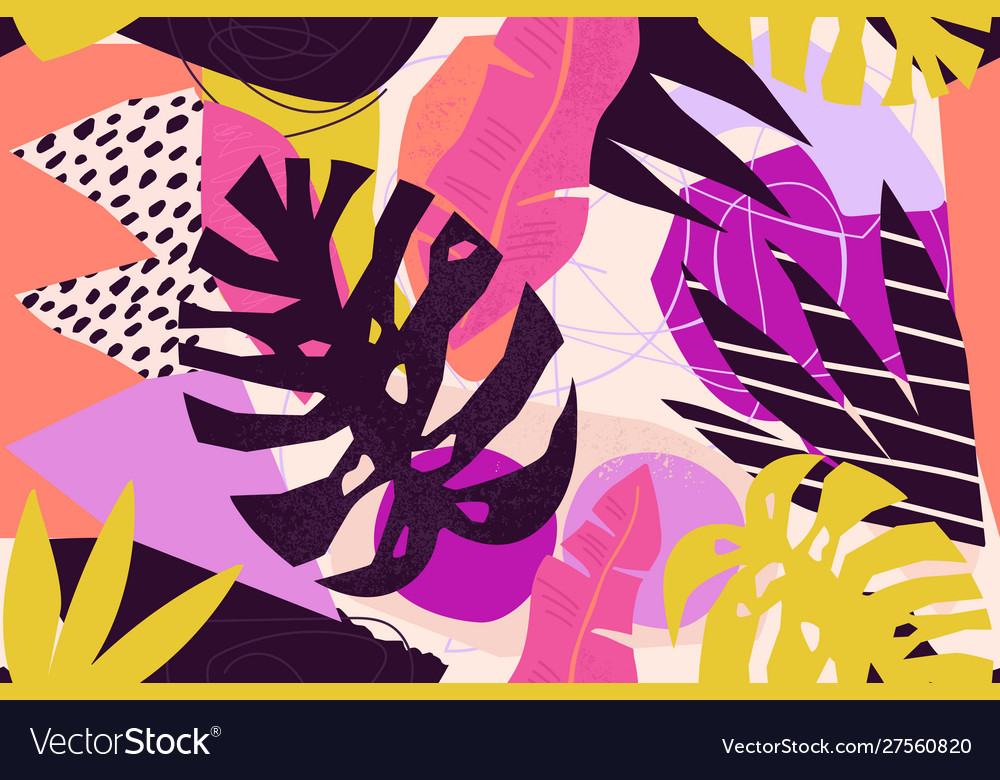 Abstract modern tropical paradise collage