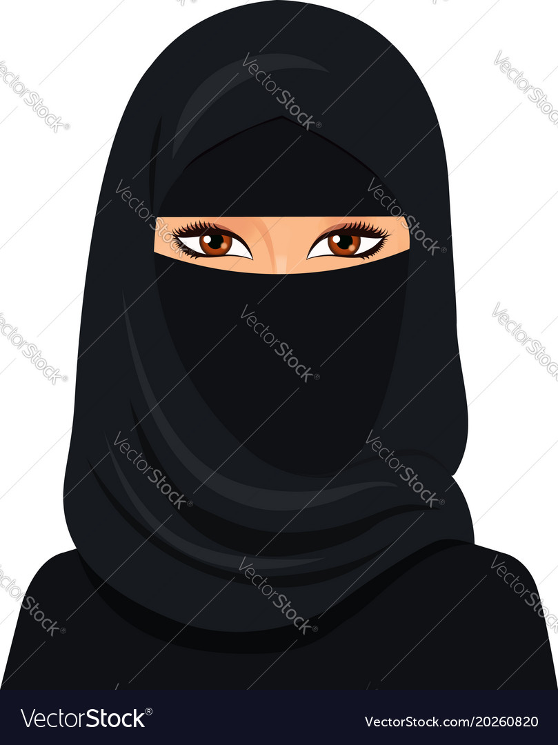 Arabic muslim woman in niqab isolated on a white