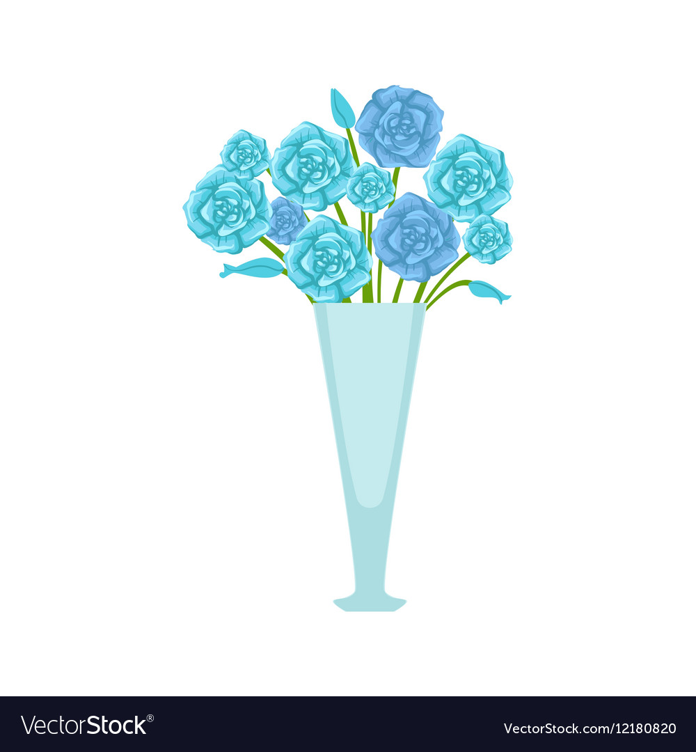 Blue Roses Flower Bouquet In Tall Flower Vase Vector Image
