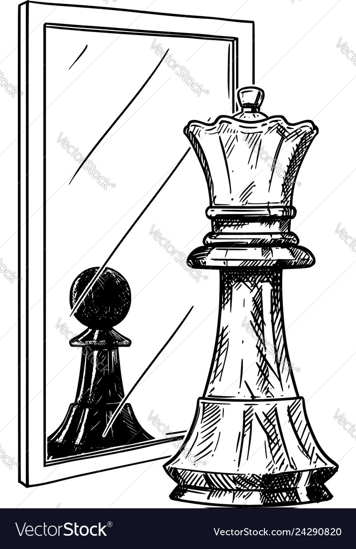 Cartoon drawing of white chess king reflecting in
