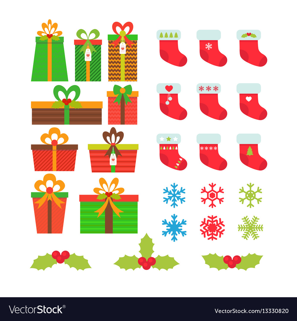 Christmas icons set gift boxes snowflakes holly