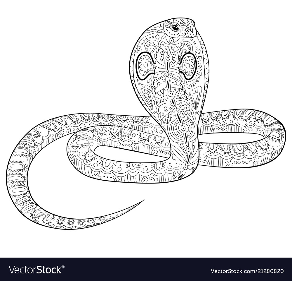 Coloring Page With Snake In Zentangle Style Vector Image