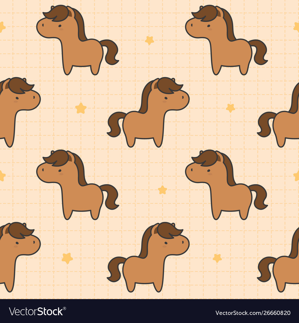 Cute Horse Seamless Pattern Background Royalty Free Vector