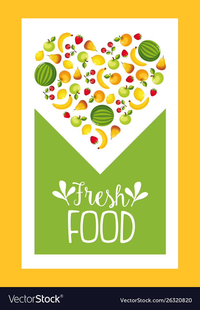 Fresh farm food banner template with fruits