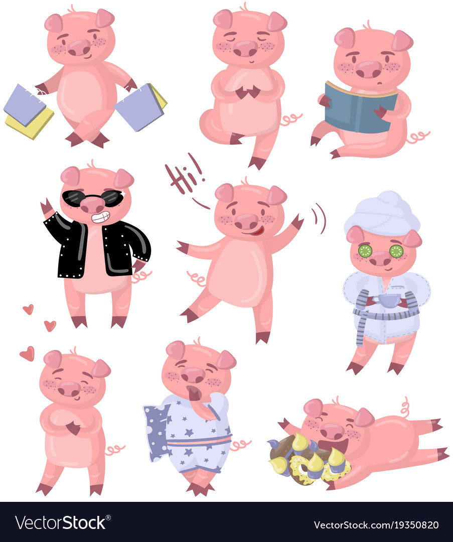 funny pig characters set piggy in different poses vector image