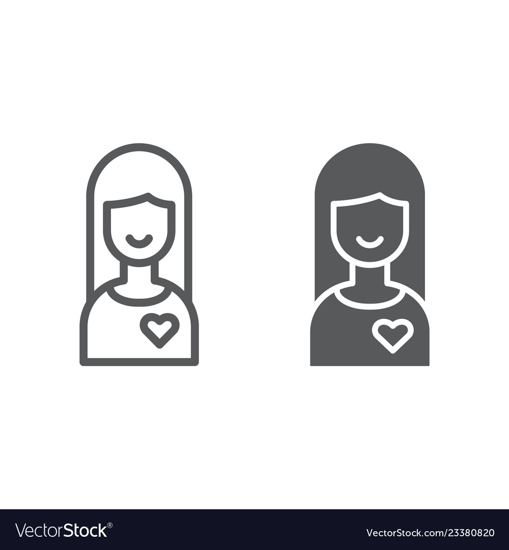 Girlfriend line and glyph icon female and love