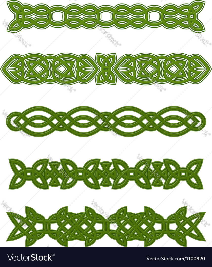 Green celtic ornaments and embellishments vector image