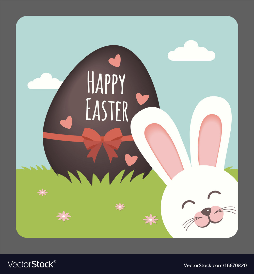 Happy easter with bunny smiling and chocolate egg vector image