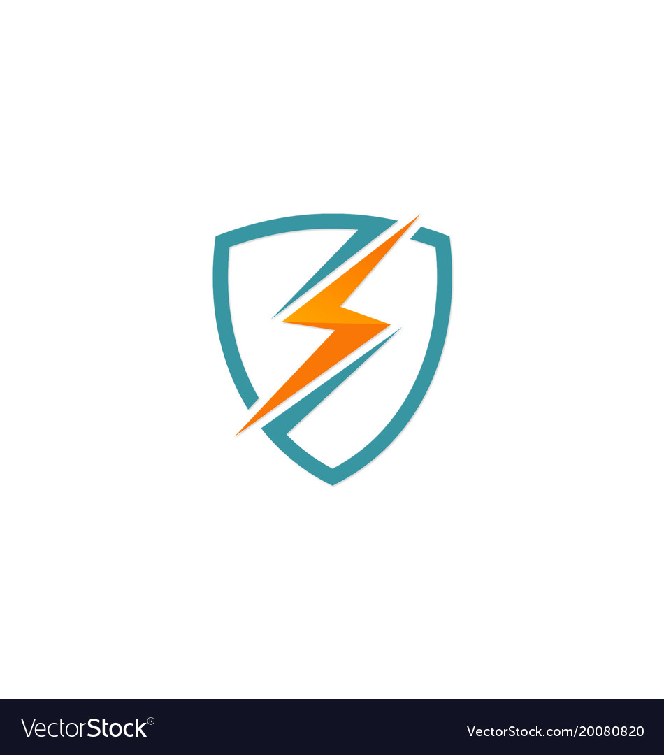 Light bolt electric shield protection logo vector image
