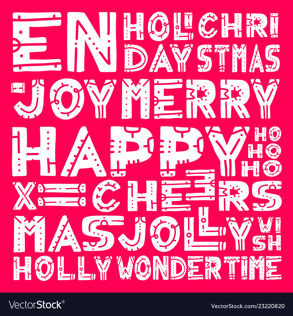 Merry christmas lettering design set hand draw