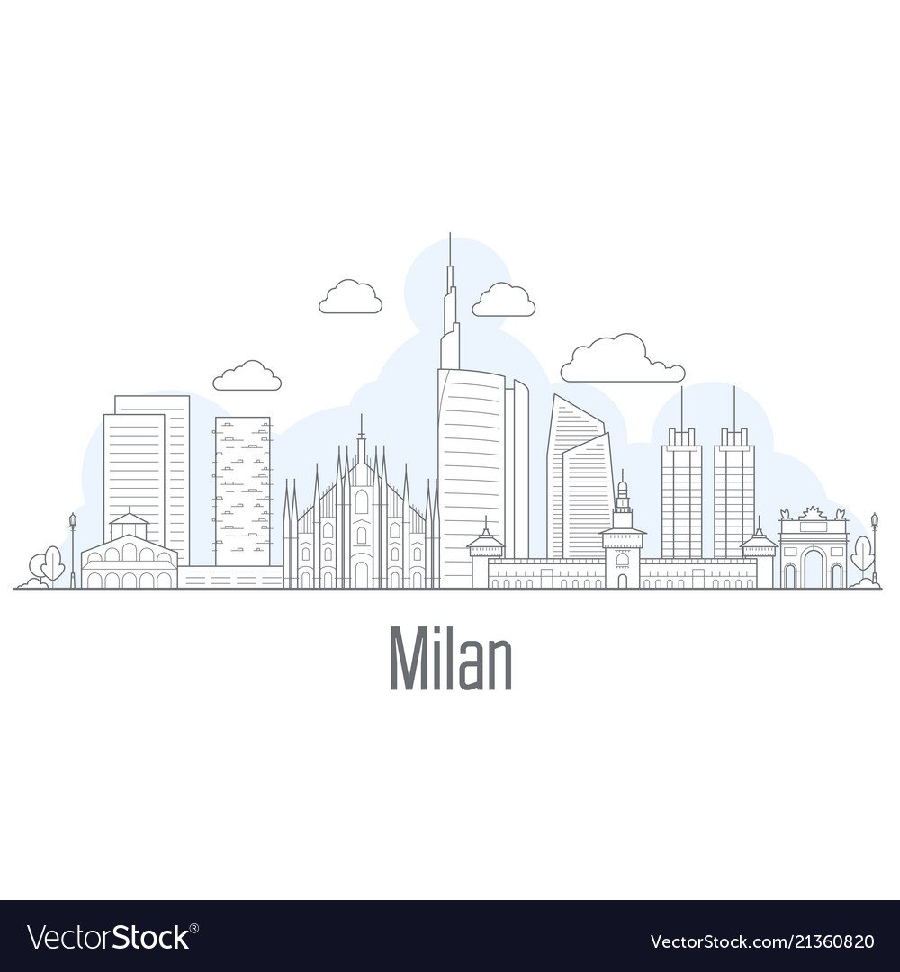 Milan city skyline - cityscape with landmarks