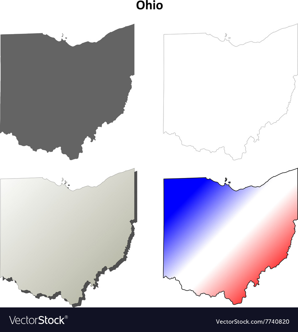 Ohio Outline Map Set Royalty Free Vector Image