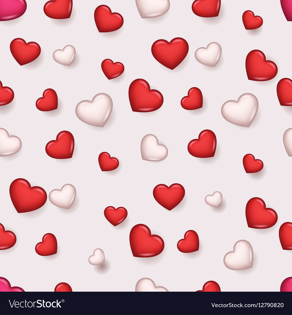 pattern valentine day romantic love hearts retro vector image