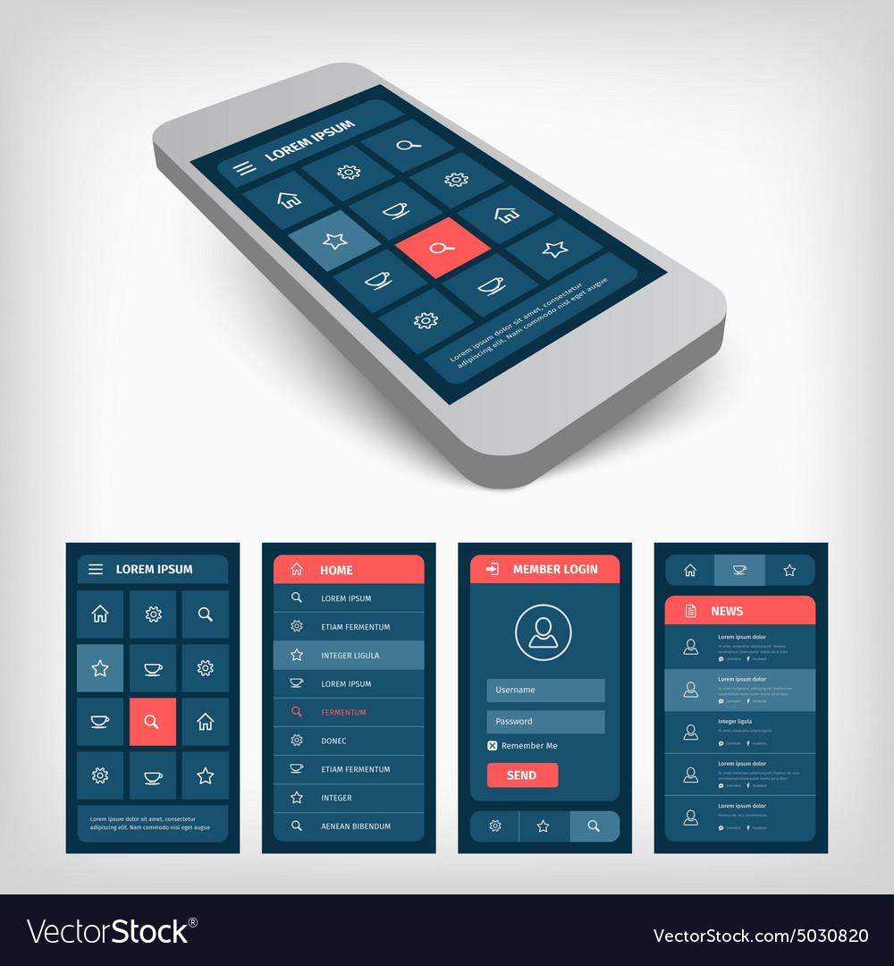 Set of blue ui mobile design