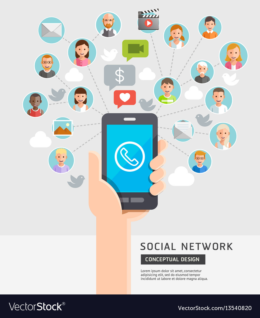 Social network conceptual flat style