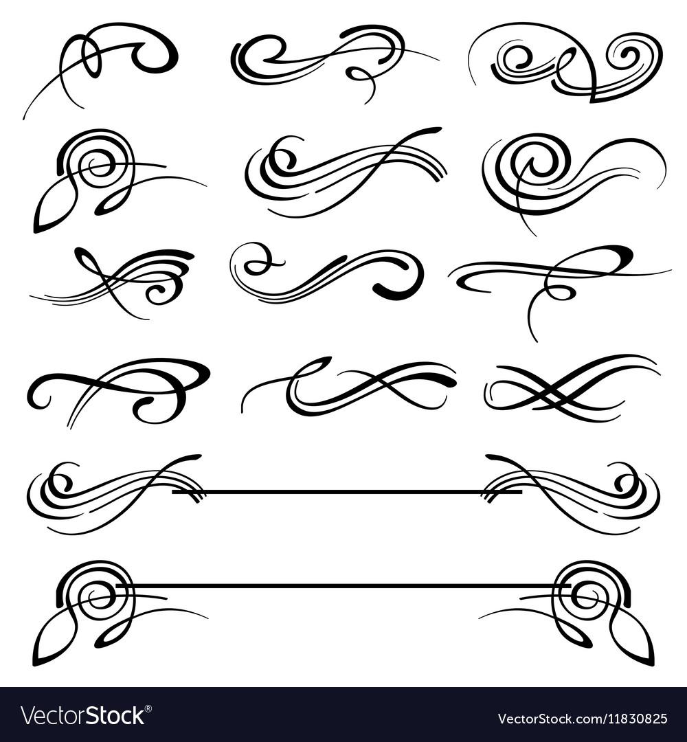 Calligraphy swirls ornate flourish vector image