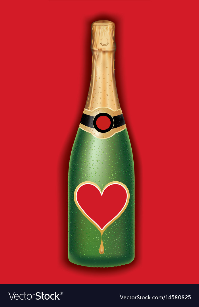 Champagne bottle with heart valentine packaging