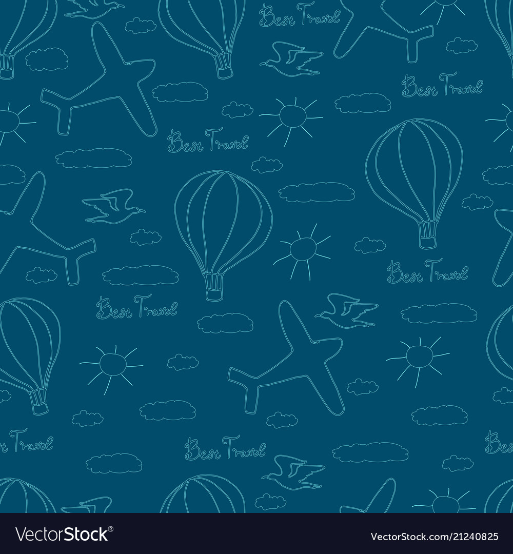 Children seamless pattern with doodle elements