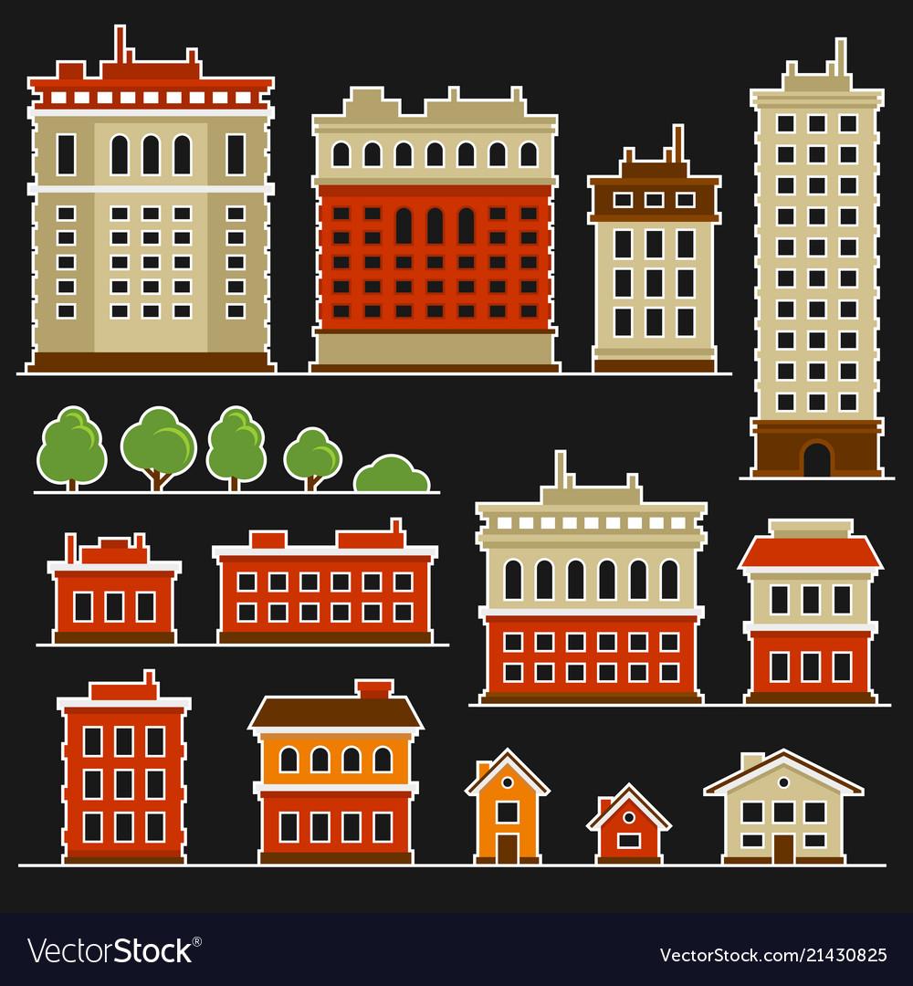 City building flat style icons set