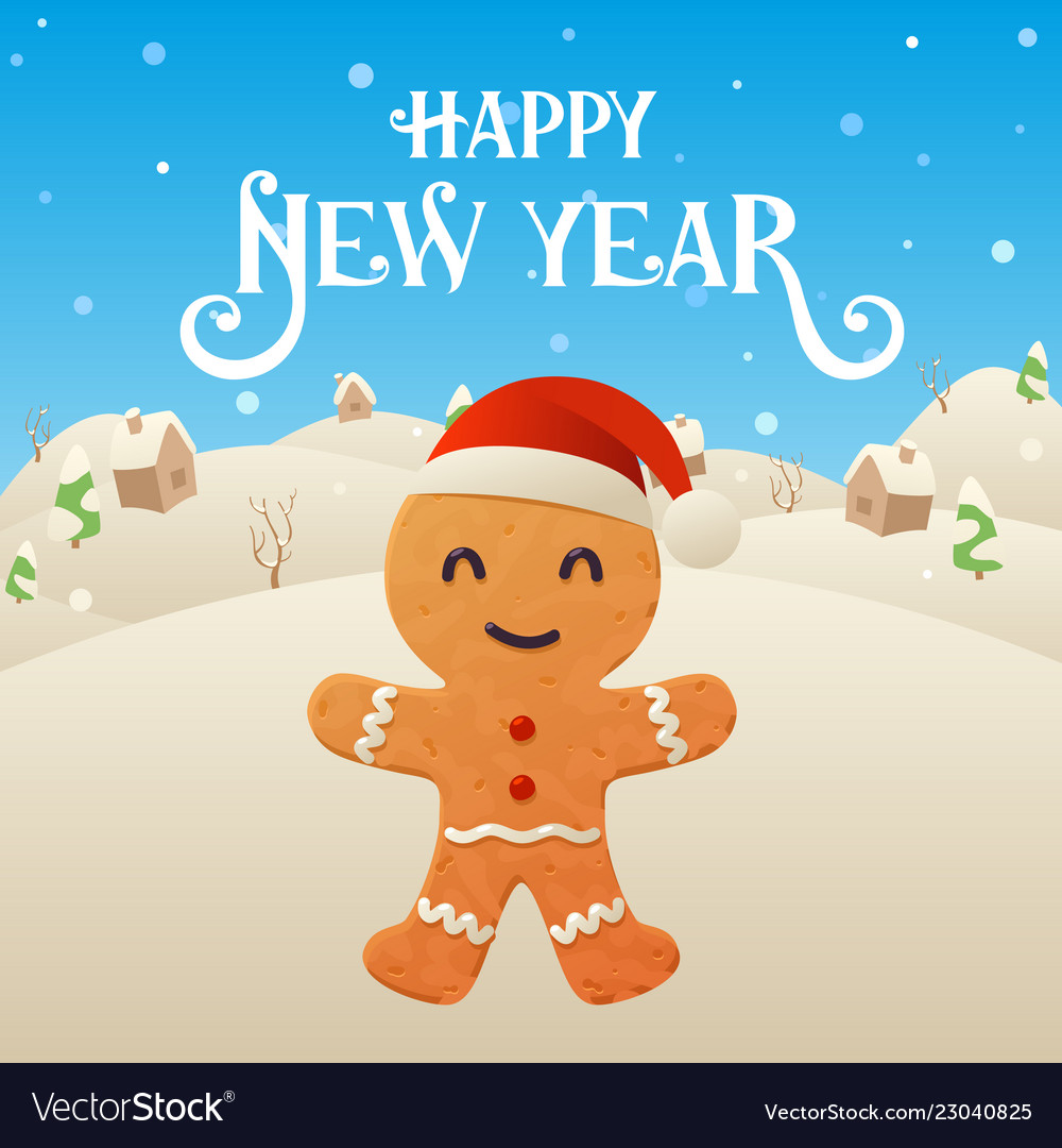 cute cartoon gingerbread character happy new year vector image